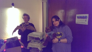 Stuart and Kiri with their bats and Bish the bear from Bristol Improv Theatre